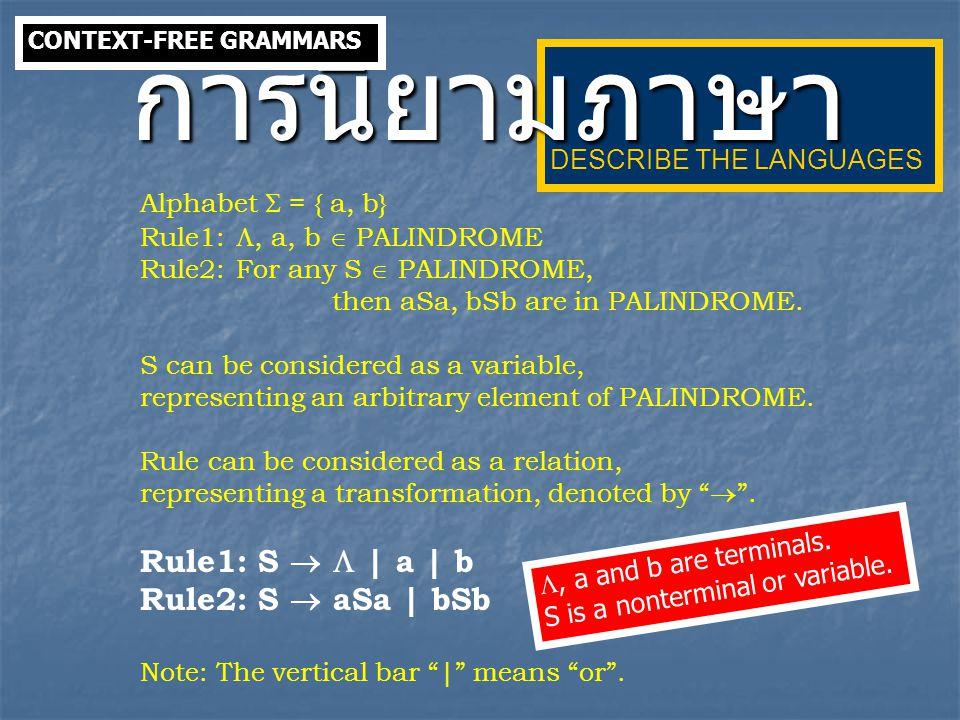 การนิยามภาษา Alphabet  = { a, b} Rule1: S   | a | b
