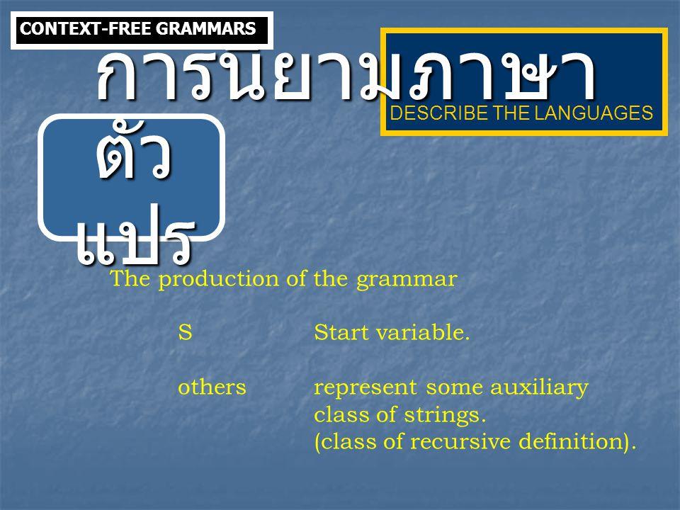 การนิยามภาษา ตัวแปร The production of the grammar S Start variable.