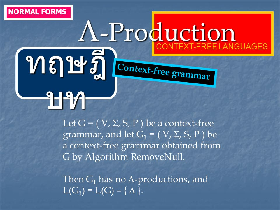 ทฤษฎีบท -Production Context-free grammar
