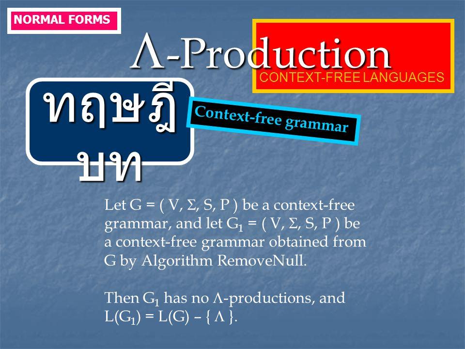ทฤษฎีบท -Production Context-free grammar