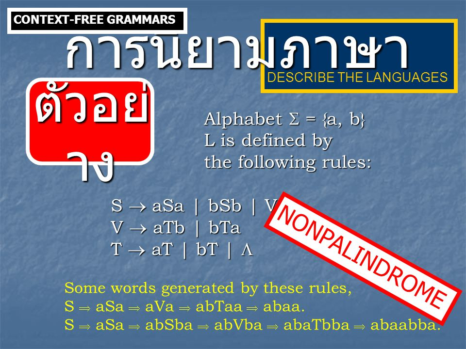 การนิยามภาษา ตัวอย่าง NONPALINDROME Alphabet  = {a, b}
