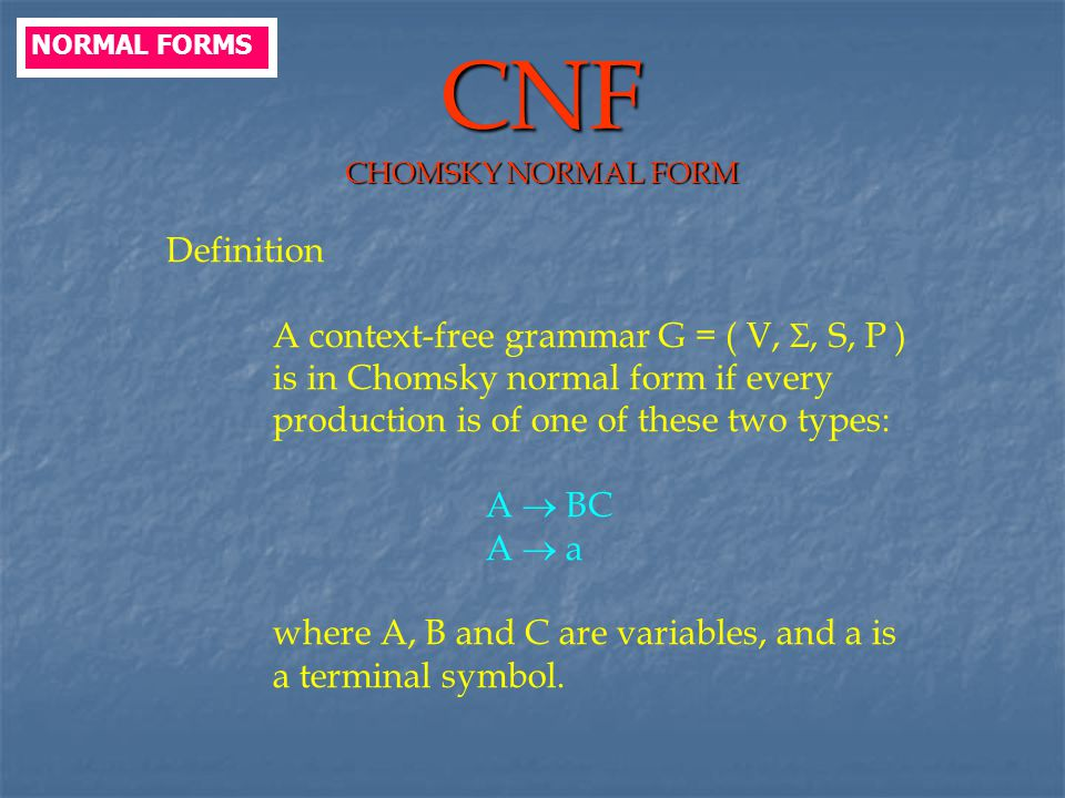 CNF CHOMSKY NORMAL FORM