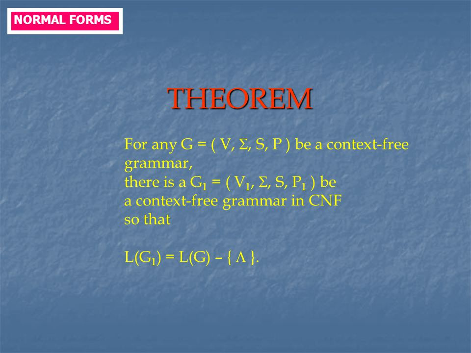THEOREM For any G = ( V, , S, P ) be a context-free grammar,