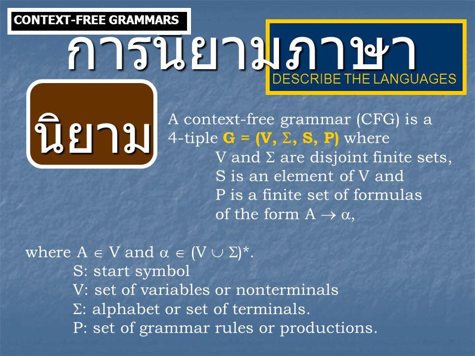 การนิยามภาษา นิยาม A context-free grammar (CFG) is a