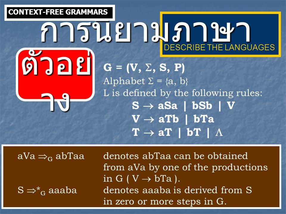 การนิยามภาษา ตัวอย่าง G = (V, , S, P) Alphabet  = {a, b}