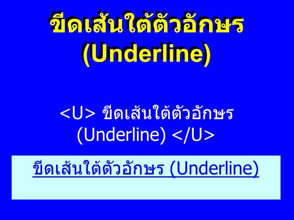 ขีดเส้นใต้ตัวอักษร (Underline)