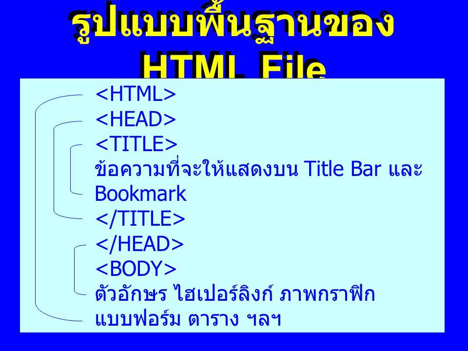 รูปแบบพื้นฐานของ HTML File