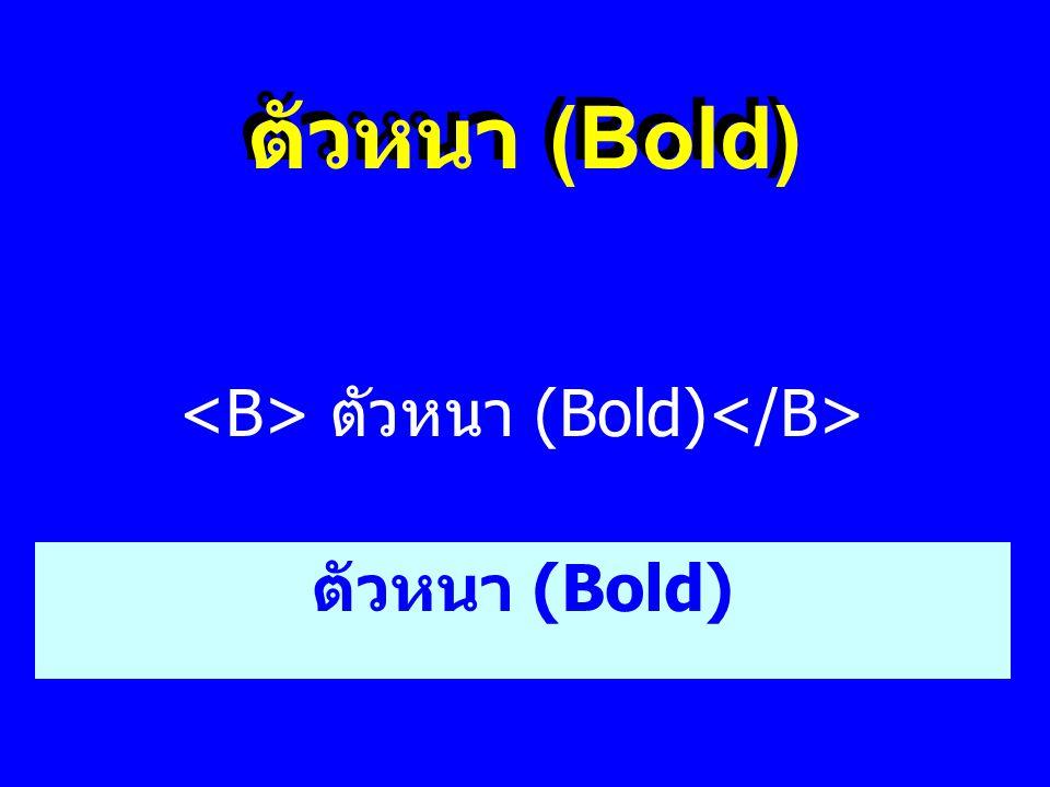 <B> ตัวหนา (Bold)</B>