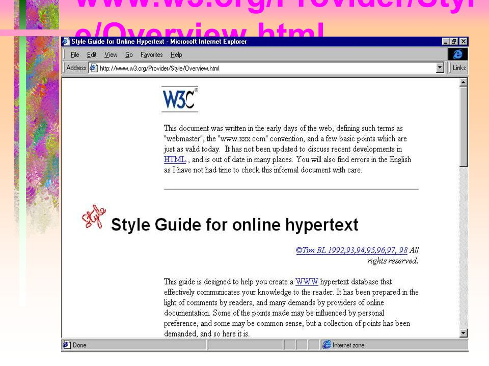 www.w3.org/Provider/Style/Overview.html