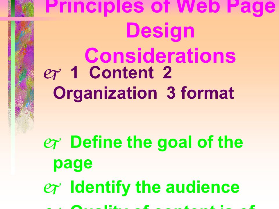 Principles of Web Page Design Considerations