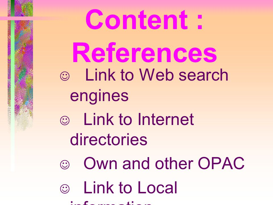 Content : References Link to Web search engines