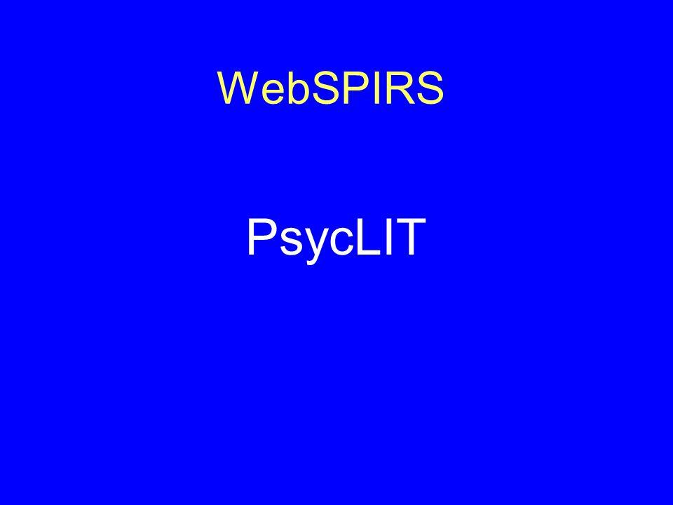 WebSPIRS PsycLIT