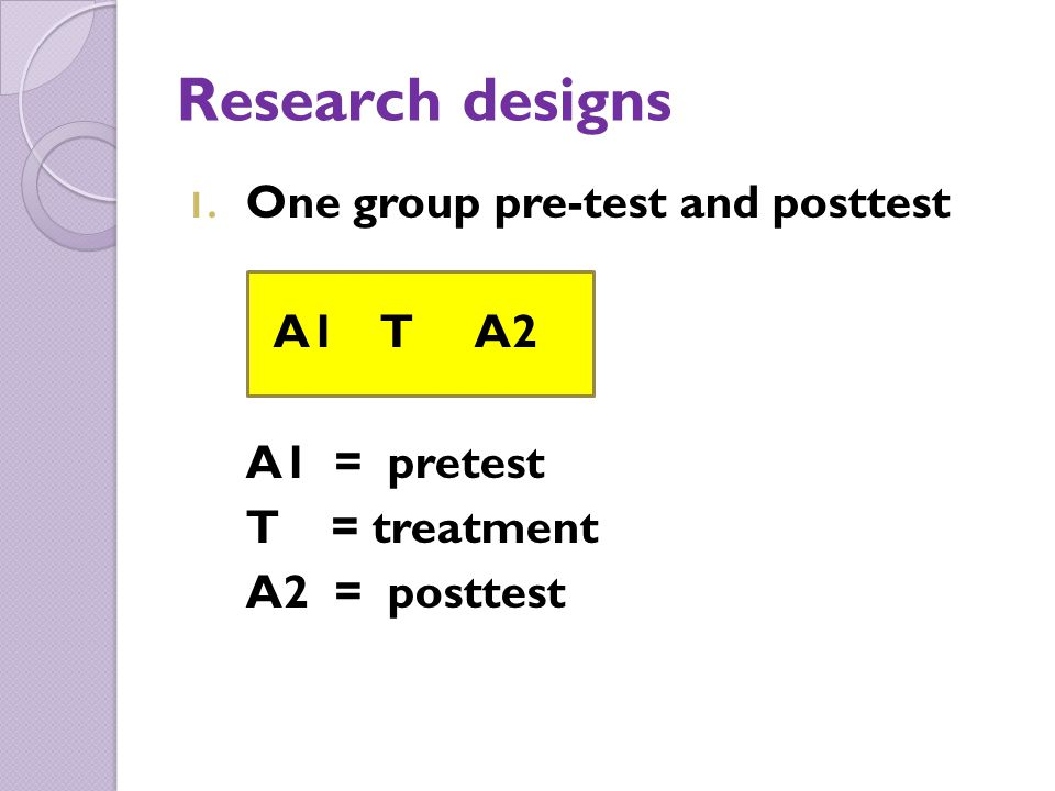 Research designs One group pre-test and posttest A1 T A2 A1 = pretest