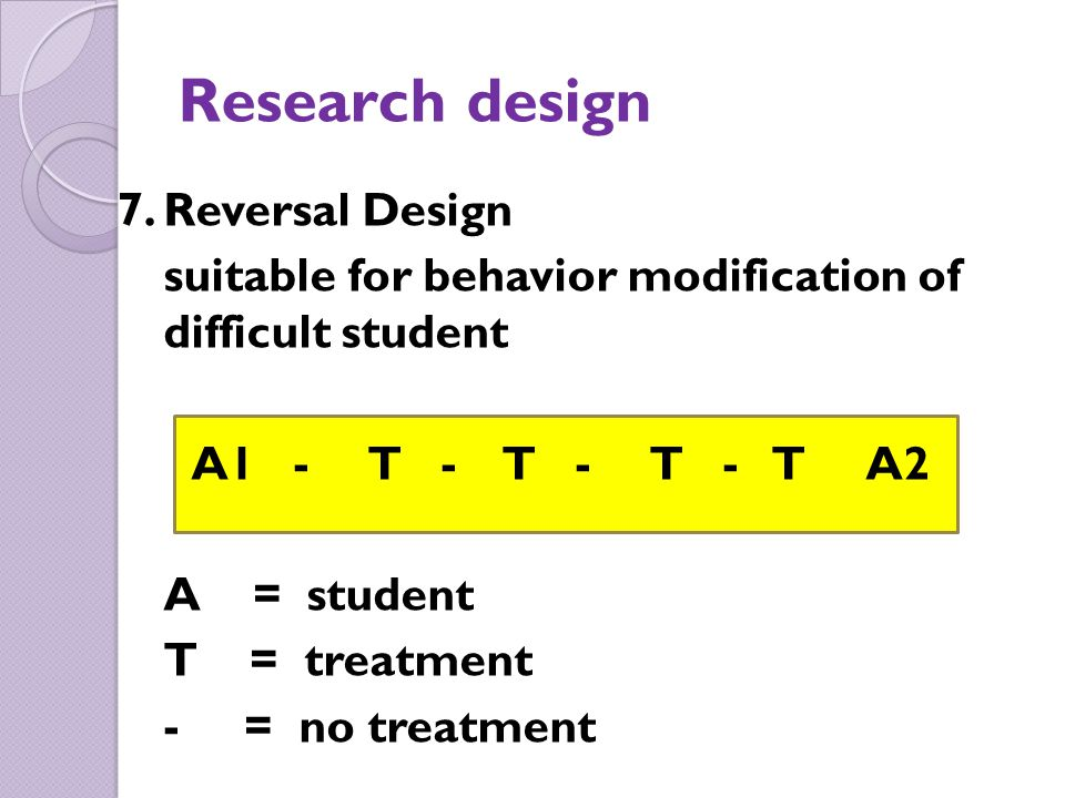 Research design 7. Reversal Design
