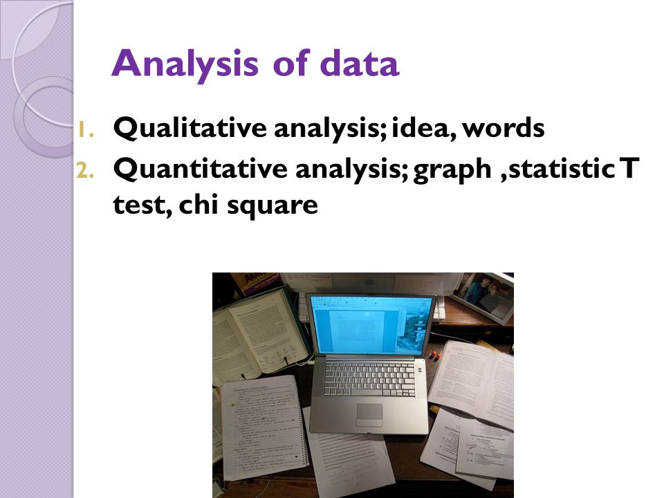 Analysis of data Qualitative analysis; idea, words