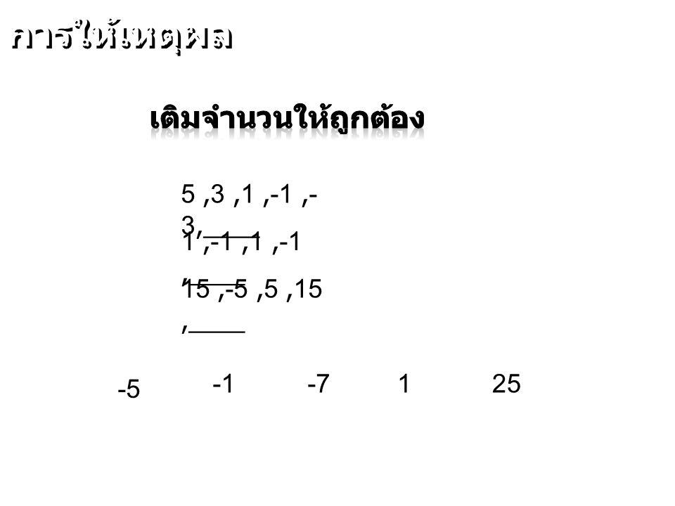 การให้เหตุผล เติมจำนวนให้ถูกต้อง 5 ,3 ,1 ,-1 ,-3,____