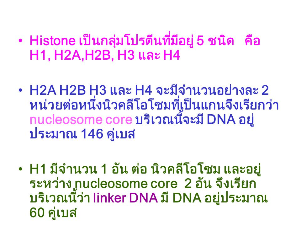 Histone เป็นกลุ่มโปรตีนที่มีอยู่ 5 ชนิด คือ H1, H2A,H2B, H3 และ H4