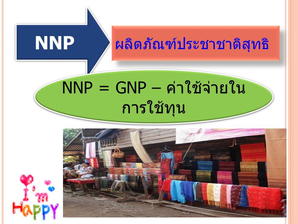 NNP = GNP – ค่าใช้จ่ายใน