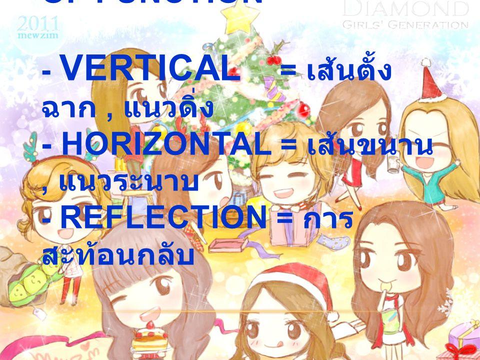 1.7 Transformation of Function - Vertical = เส้นตั้งฉาก , แนวดิ่ง - Horizontal = เส้นขนาน , แนวระนาบ - Reflection = การสะท้อนกลับ