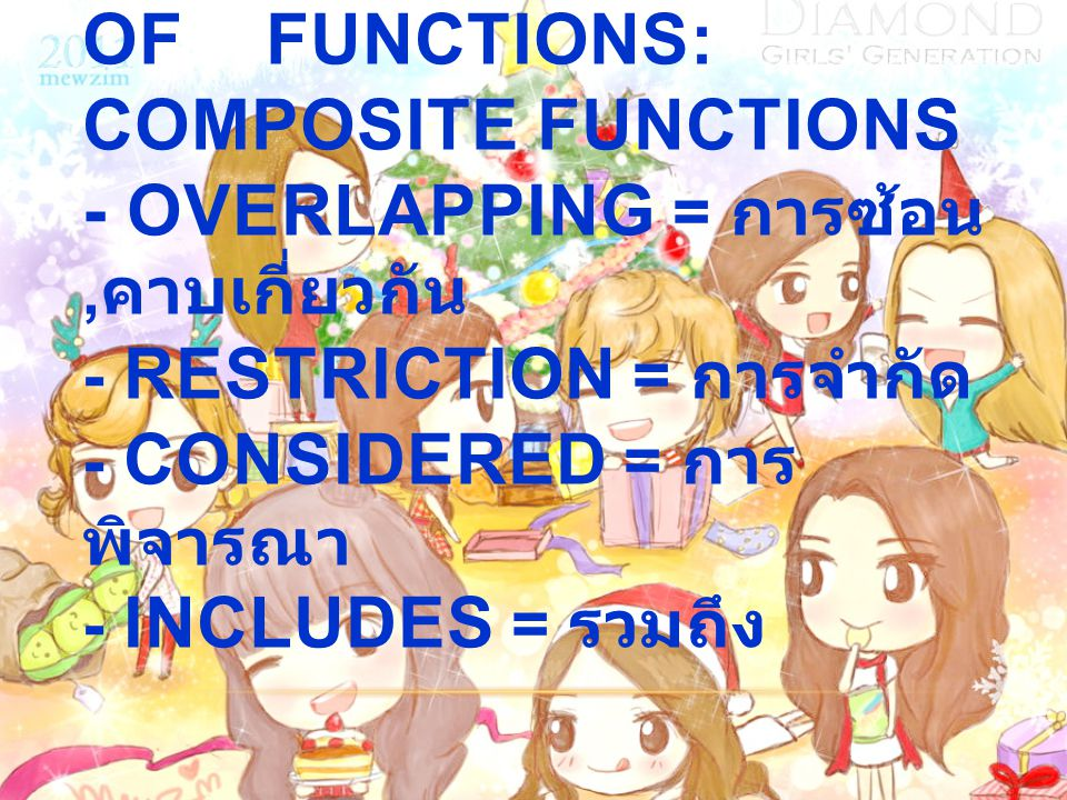 1.8 Combinations of functions: Composite Functions - Overlapping = การซ้อน,คาบเกี่ยวกัน - Restriction = การจำกัด - Considered = การพิจารณา - Includes = รวมถึง