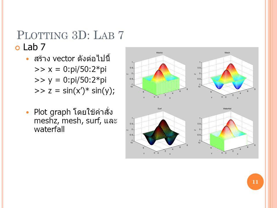 Plotting 3D: Lab 7 Lab 7 สร้าง vector ดังต่อไปนี้