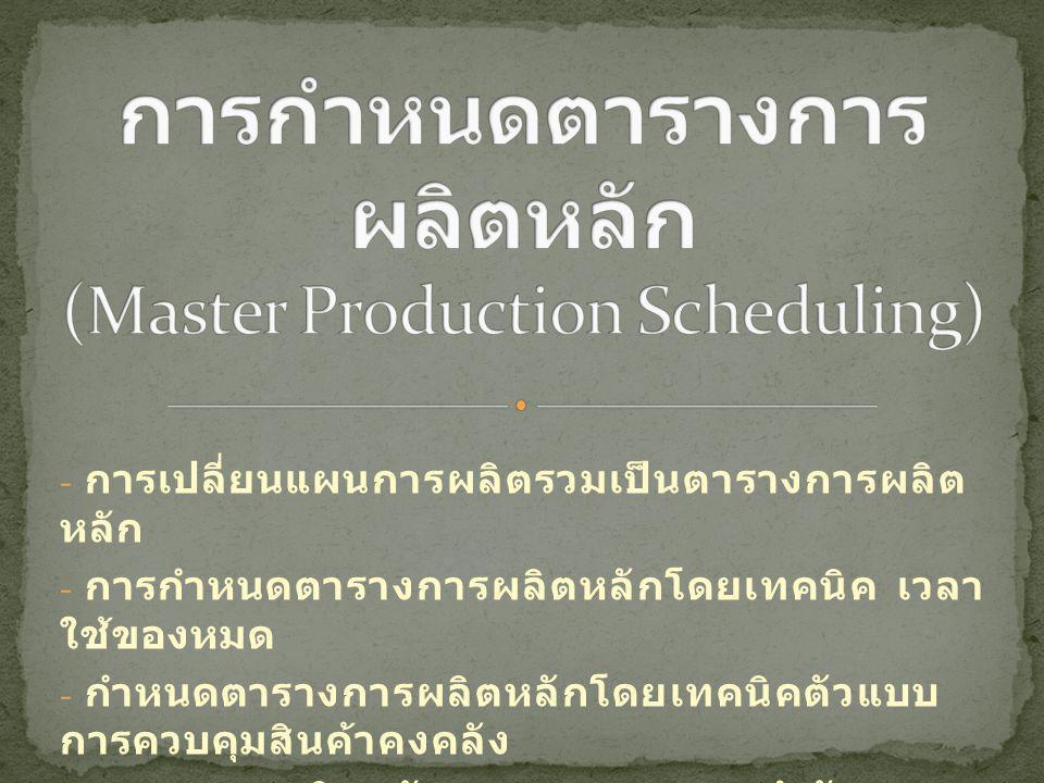 การกำหนดตารางการผลิตหลัก (Master Production Scheduling)