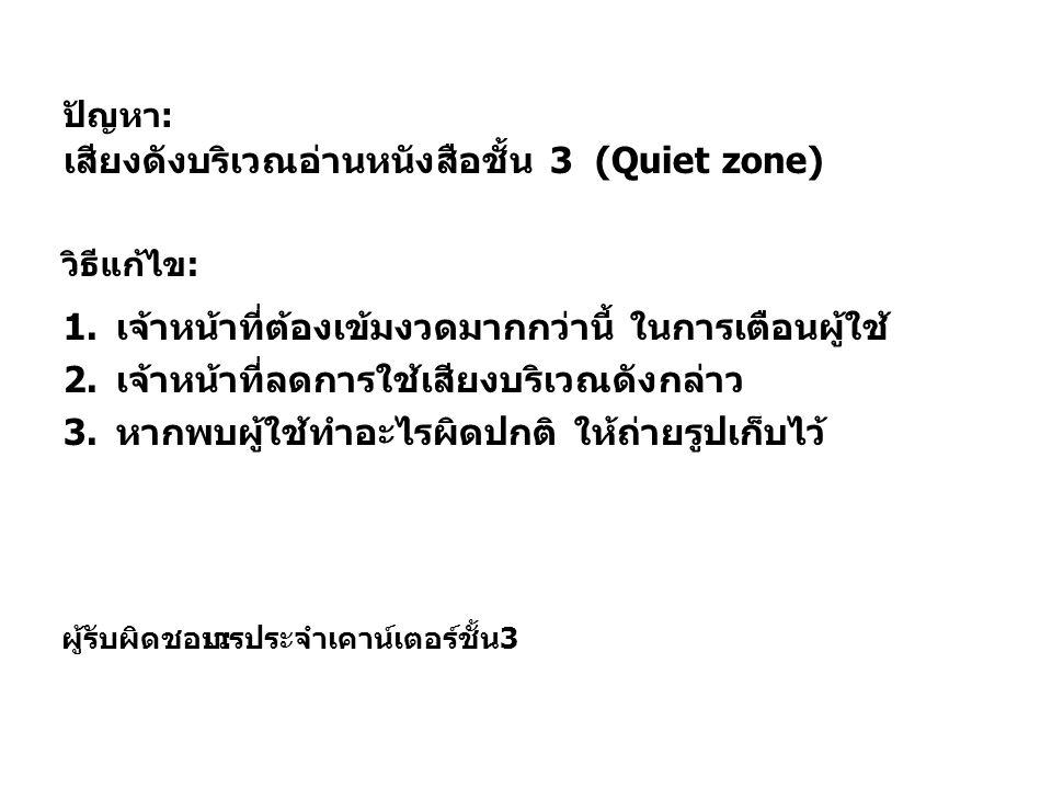เสียงดังบริเวณอ่านหนังสือชั้น 3 (Quiet zone)