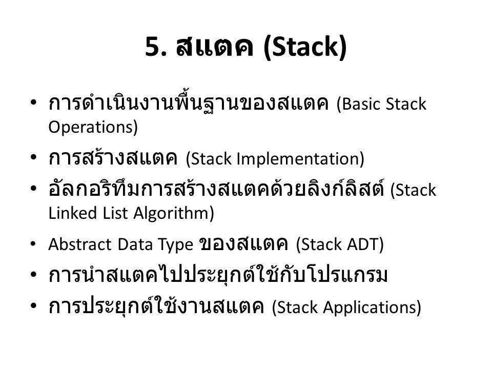 5. สแตค (Stack) การดำเนินงานพื้นฐานของสแตค (Basic Stack Operations)