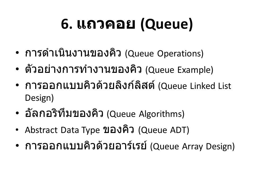 6. แถวคอย (Queue) การดำเนินงานของคิว (Queue Operations)