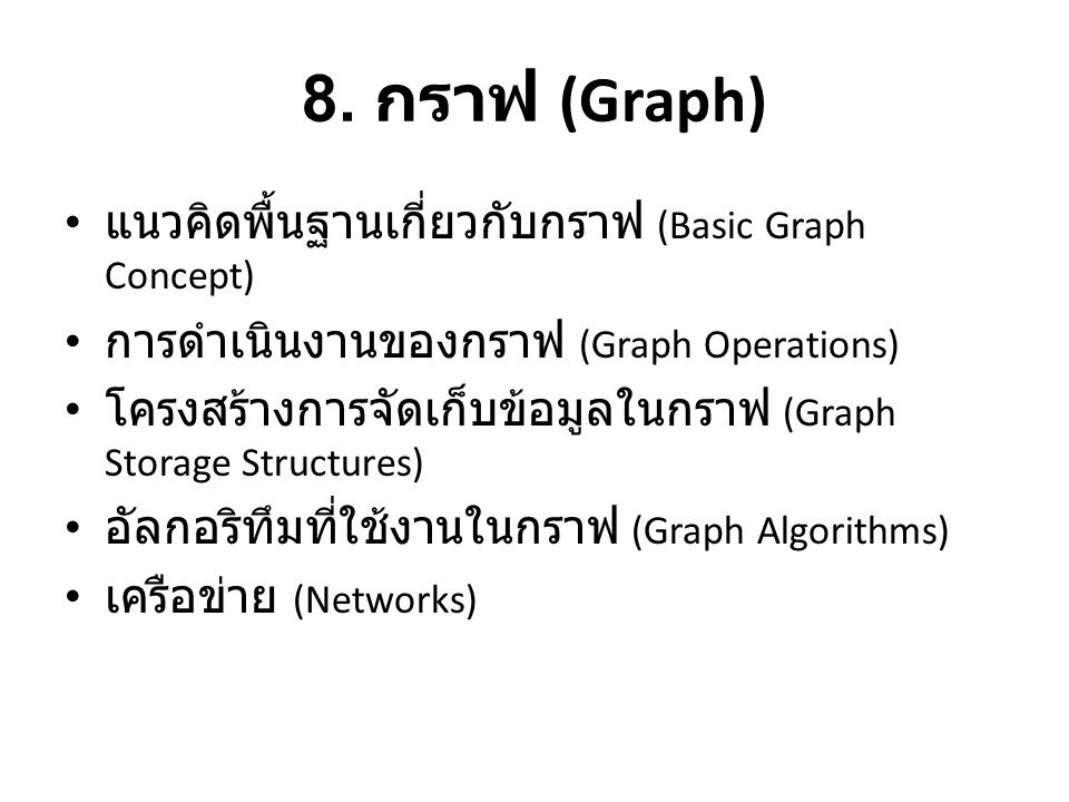 8. กราฟ (Graph) แนวคิดพื้นฐานเกี่ยวกับกราฟ (Basic Graph Concept)