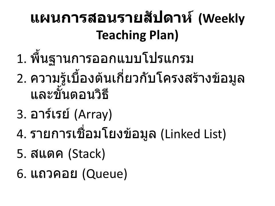 แผนการสอนรายสัปดาห์ (Weekly Teaching Plan)