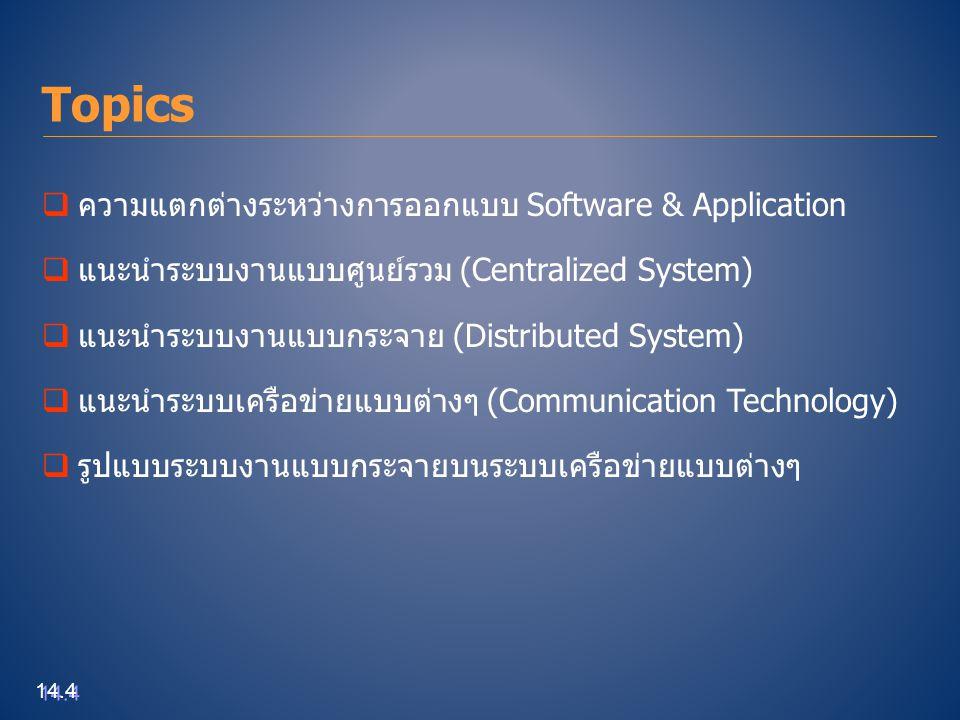 Topics ความแตกต่างระหว่างการออกแบบ Software & Application