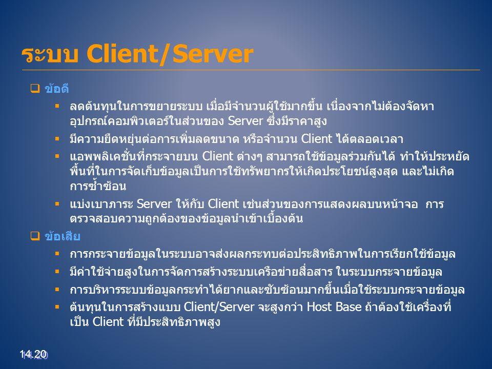 ระบบ Client/Server ข้อดี