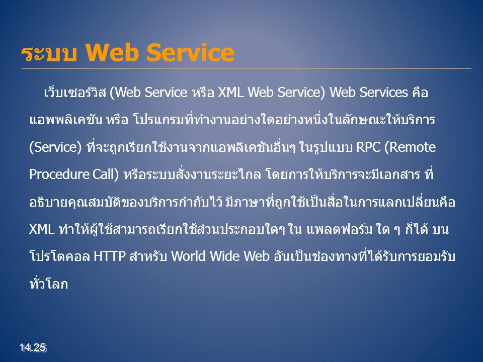 ระบบ Web Service เว็บเซอร์วิส (Web Service หรือ XML Web Service) Web Services คือ.