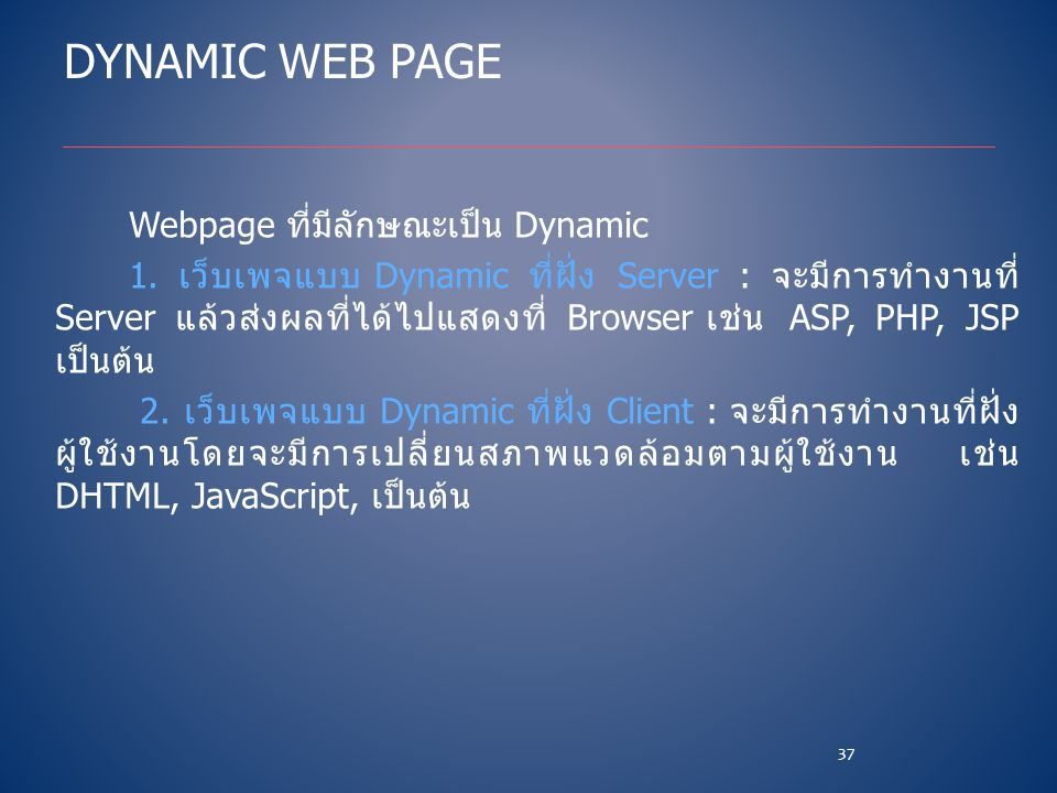 Dynamic Web Page Webpage ที่มีลักษณะเป็น Dynamic