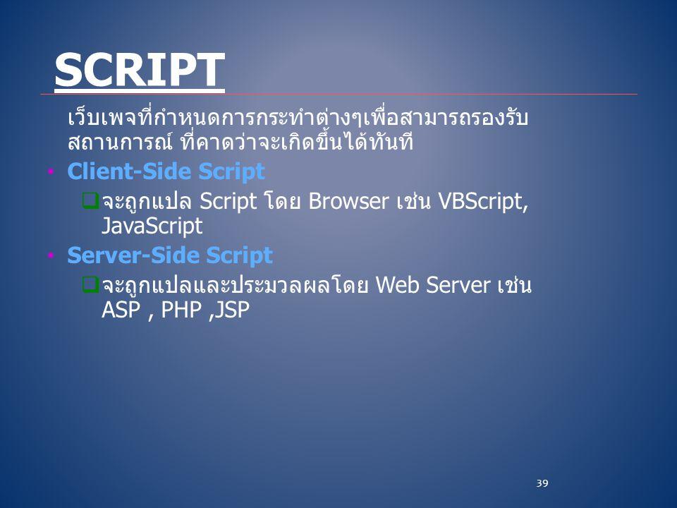 Script เว็บเพจที่กำหนดการกระทำต่างๆเพื่อสามารถรองรับสถานการณ์ ที่คาดว่าจะเกิดขึ้นได้ทันที Client-Side Script.
