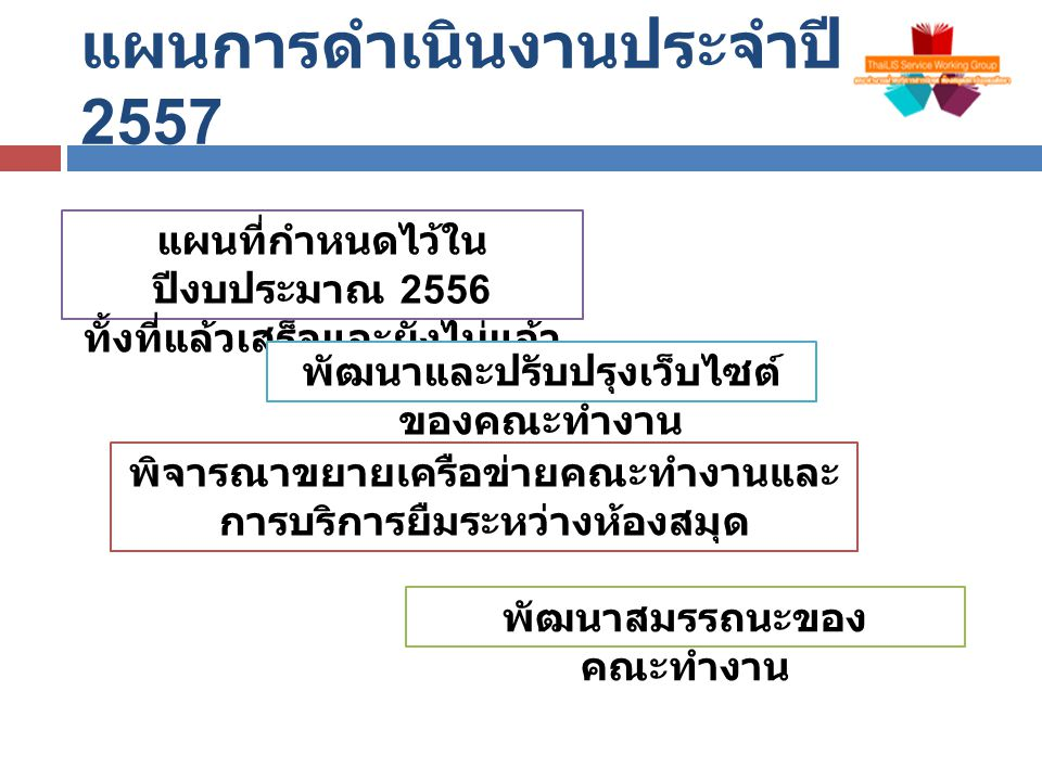 แผนการดำเนินงานประจำปี 2557