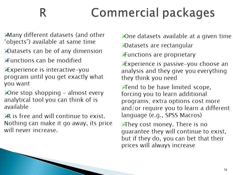 R Commercial packages Many different datasets (and other objects ) available at same time.