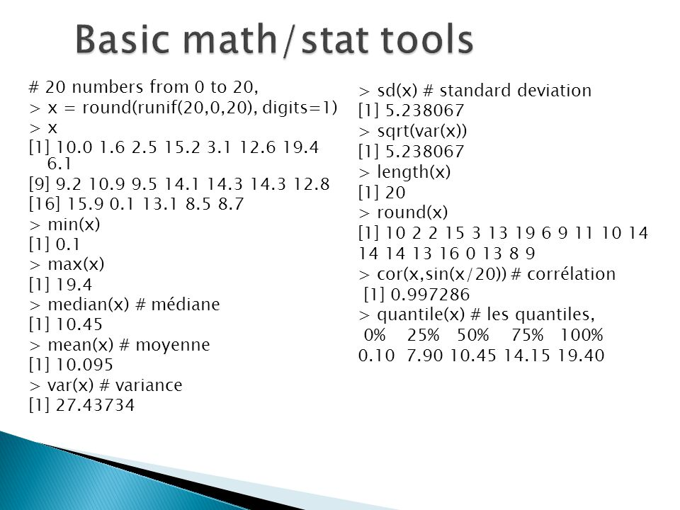 Basic math/stat tools # 20 numbers from 0 to 20,