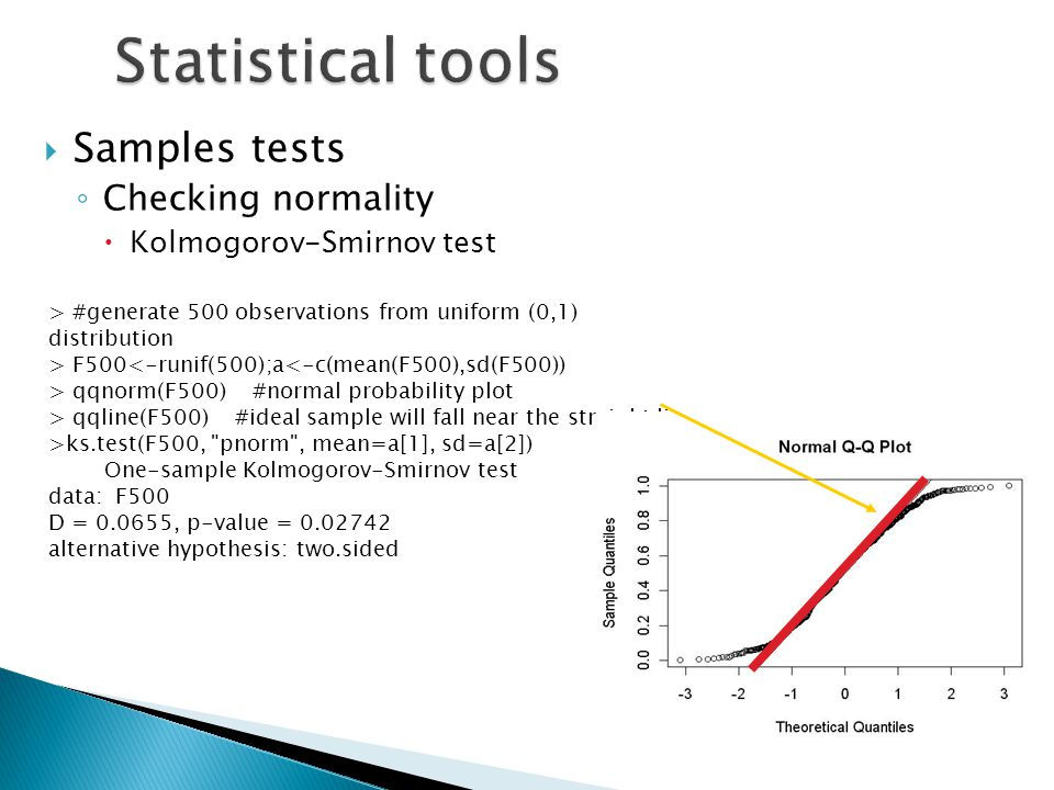 Statistical tools Samples tests Checking normality