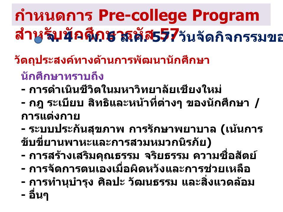 กำหนดการ Pre-college Program สำหรับนักศึกษารหัส 57