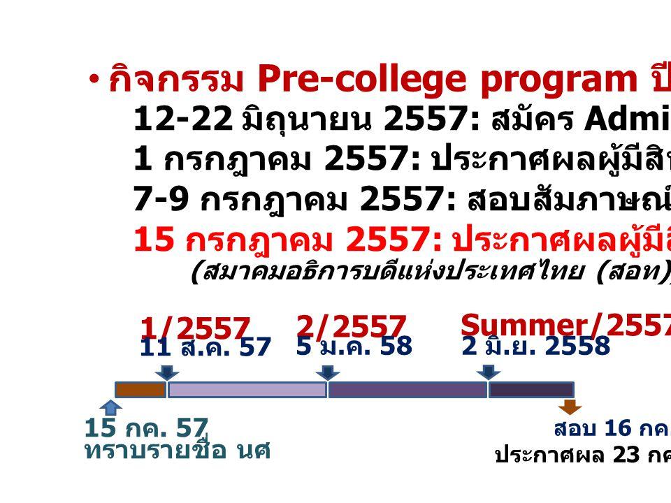 กิจกรรม Pre-college program ปีการศึกษา 2557