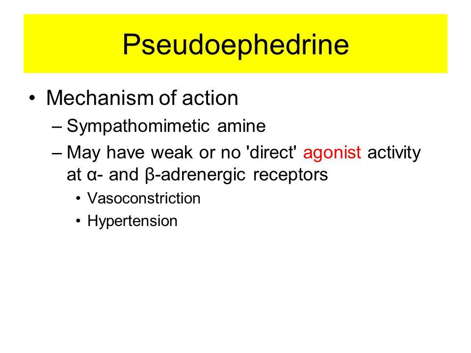 Pseudoephedrine Mechanism of action Sympathomimetic amine
