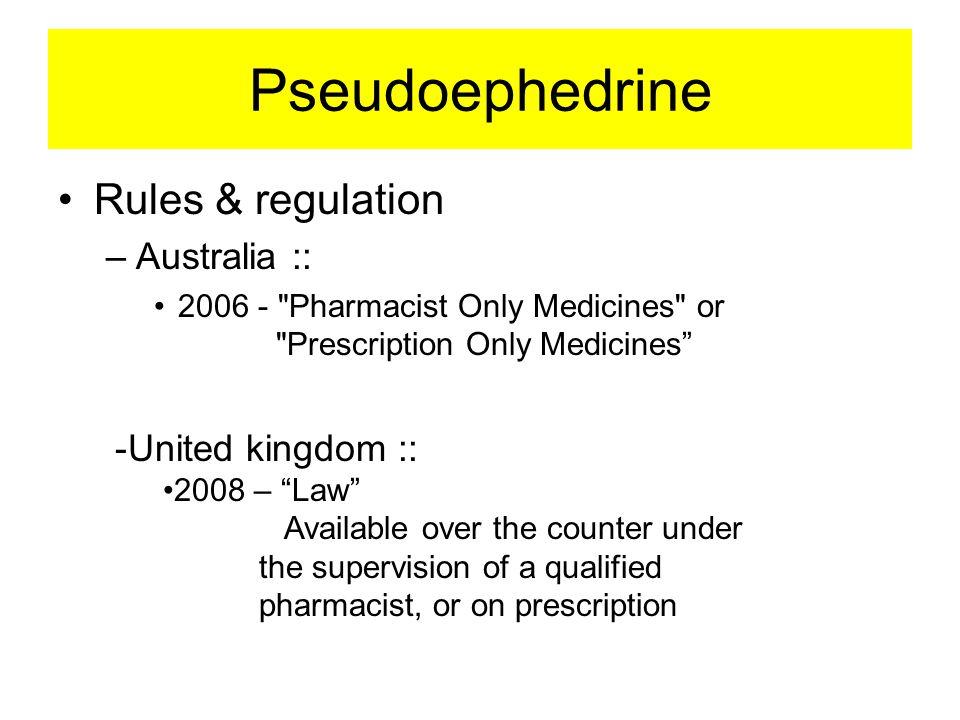 Pseudoephedrine Rules & regulation Australia :: United kingdom ::