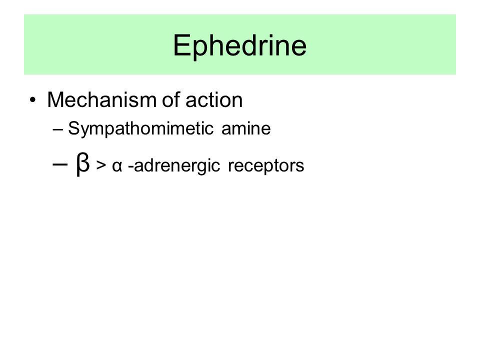 Ephedrine β > α -adrenergic receptors Mechanism of action
