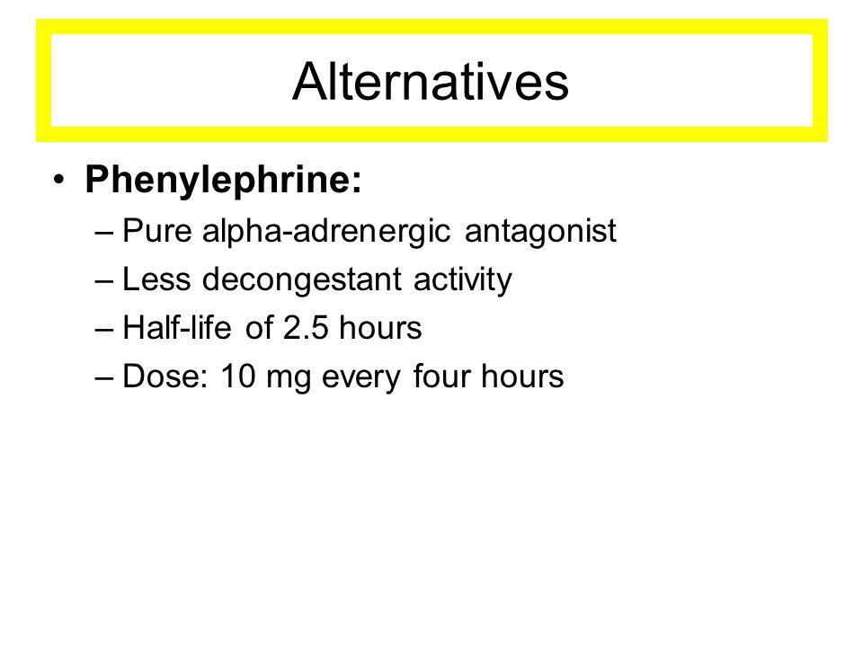 Alternatives Phenylephrine: Pure alpha-adrenergic antagonist