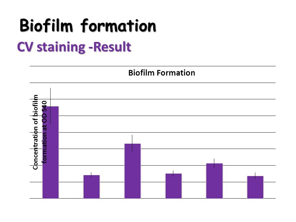 Biofilm formation CV staining -Result