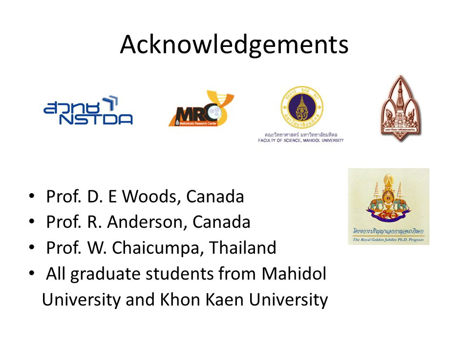 Acknowledgements Prof. D. E Woods, Canada Prof. R. Anderson, Canada