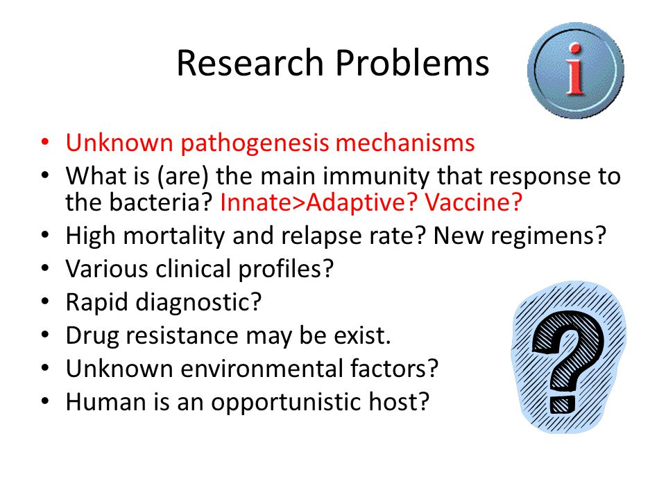 Research Problems Unknown pathogenesis mechanisms