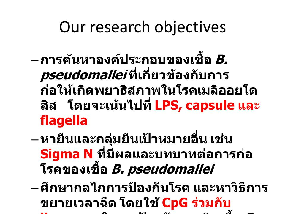 Our research objectives